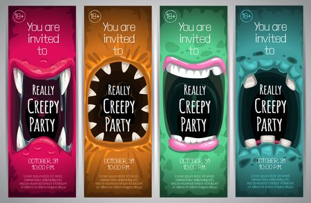 Halloween vertical banners with creepy monster mouth. Foto de archivo - 130029864