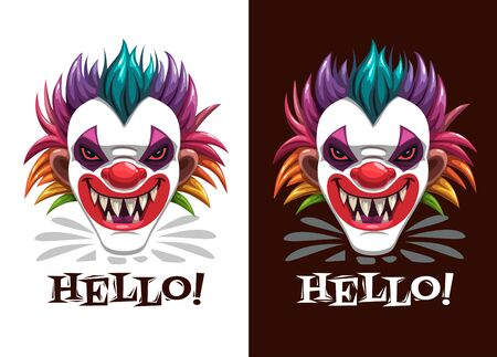 Scary circus print. Creepy clown mask on the black and whitr background.