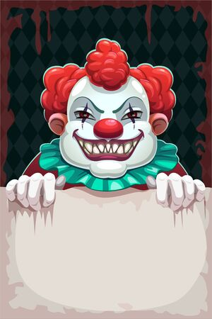 Creepy circus poster. Scary evil clown with paper banner in the hand.