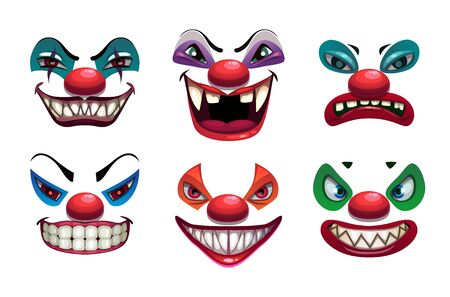 Creepy clown faces. Isolated on white. Scary vector.
