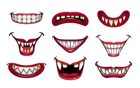 Conjunto de bocas de payaso espeluznantes. Sonrisa aterradora con mandíbulas y labios rojos. Ilustración de vector