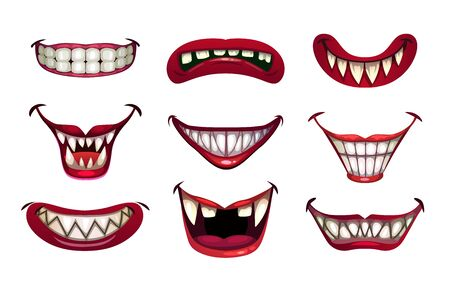 Creepy clown mouths set. Scary smile with jaws and red lips. Vectores