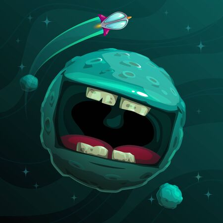 Cartoon fantasy blue monster planet with giant scary mouth on cosmic background.