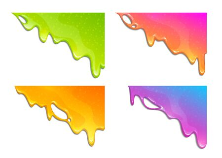 Colorful slimy dribbles. Slime drops on the corner, web banner template.