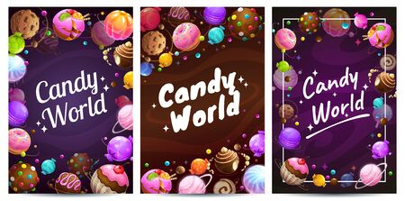 Candy world posters set. Sweets background templates. Foto de archivo - 130030134