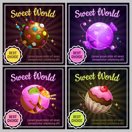 Candy planets. Sweet world design. Cafeteria menu page.