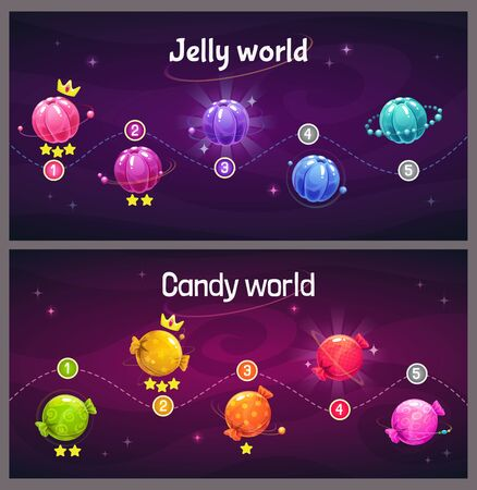 Ingame level up progress screen. Cosmic map with jelly and candy planets.