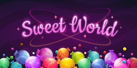 Sweet world background. Colorful horizontal banner with bright caramel candies.