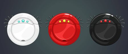 Robotic vacuum cleaner icons set. Smart home asset.