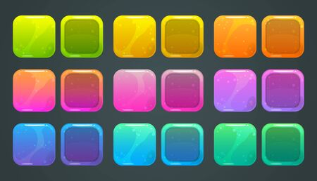 Square frames and buttons for game or app store  design.