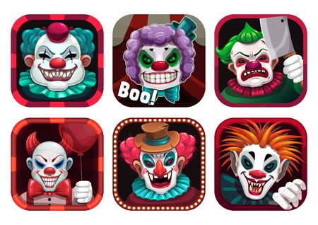 Creepy clown app icons set. Vector GUI assets.