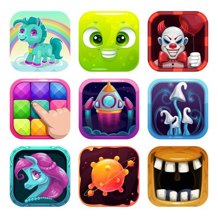 Cartoon app icons set. Funny square  pictures.  イラスト・ベクター素材