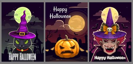 Set of three scary Halloween posters. Helloween greeting cards set.  イラスト・ベクター素材