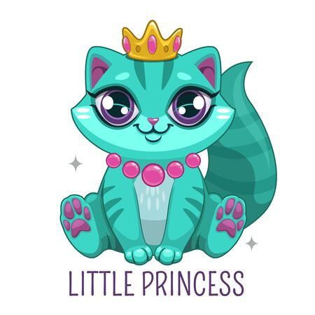 Funny blue kitten wearing the crown. Beautiful cartoon kitty princess.