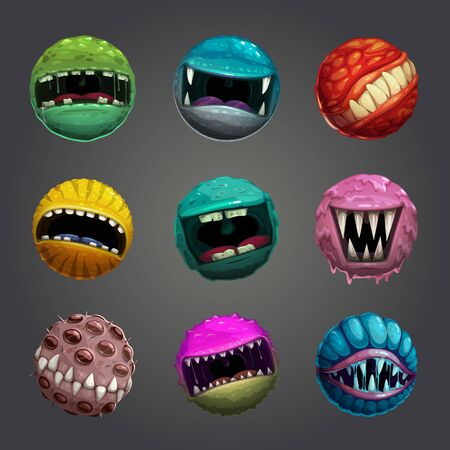Enemy bubble concept. Crazy cartoon colorful balls with creepy mouths, alien eggs, scary planet with jaws, cosmic hunter, round monster balls set. Vector assets for game design. Archivio Fotografico - 131854338