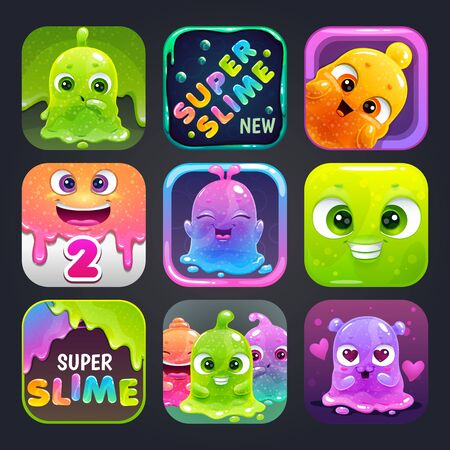 Funny cartoon colorful app icons for slime game   design.