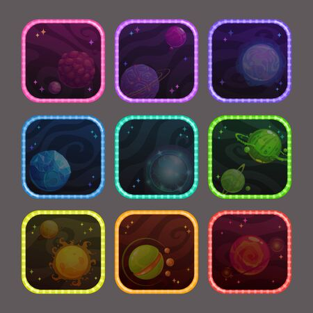Funny cartoon colorful app icons with fantasy planets.  イラスト・ベクター素材