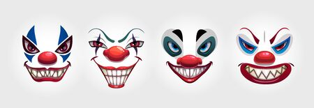Crazy clowns faces on white background. Circus monsters.