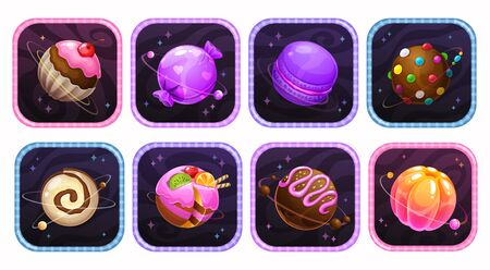 App icons with yummy sweet planets into the colorful frames.  イラスト・ベクター素材