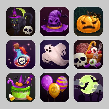 Scary cartoon app icons with Halloween attributes.