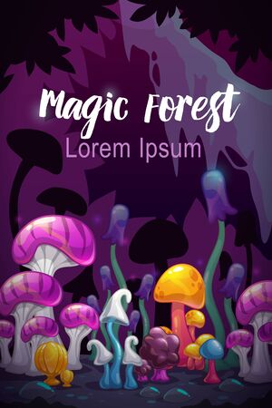 Magic forest scene. Unusual fantasy cartoon colorful mushrooms on the fairy night background. Vector illustration.