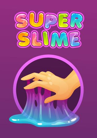 Sticky glue on the fingers. Funny colorful homemade slime holding in the hand.