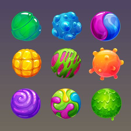 Cartoon colorful slimy balls. Funny slime bubbles for game design.