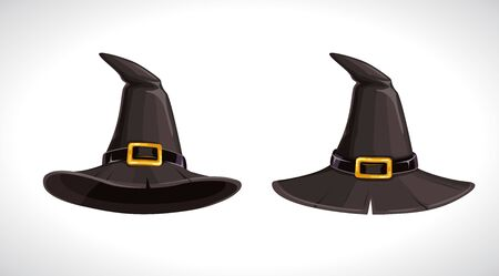 Cartoon witch black hats with golden buckle, above and bottom view. Wizard hat icons.