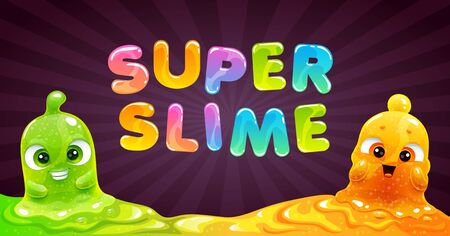 Super slime banner. Vector background with funny slimy characters.  イラスト・ベクター素材