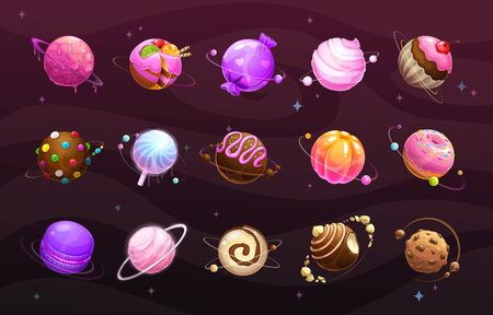 Sweet world concept. Food planets on space background.