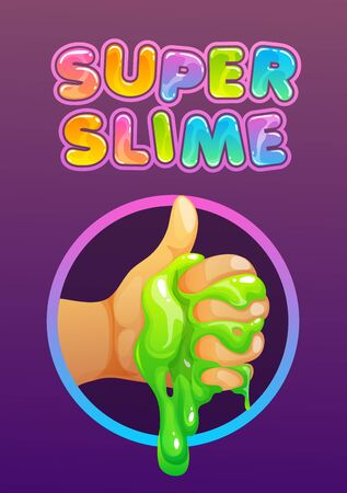 Funny colorful homemade slime holding in the hand.