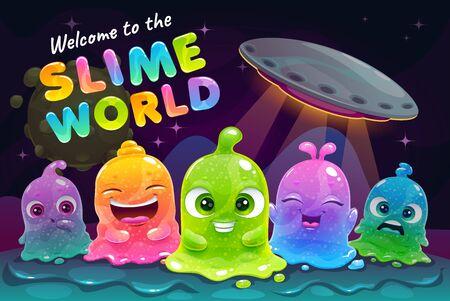 Witamy w szlamowym świecie. Śmieszne kolorowe małe słodkie oślizgłe kosmici na tle przestrzeni fantasy. Kreskówka potwory ładne galaretki. Dziecinna ilustracja wektorowa.