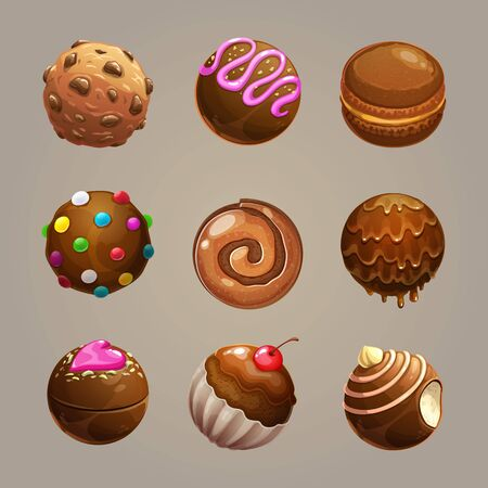 Chocolate candy balls set. Round glazed sweet assets for game design. Vector GUI elements.