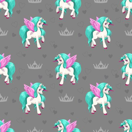 Pretty unicorn. Seamless pattern for girls with cute cartoon little horses.