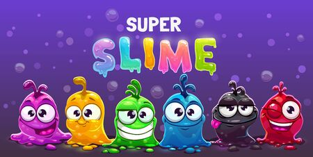 Super slime horizontal banner. Funny cute cartoon alien slimy characters.