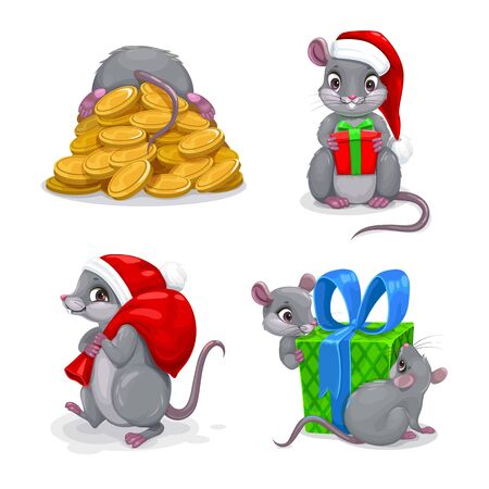 Cute cartoon mice set. Festive holiday mouse icons.