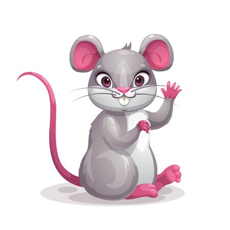 Little cute cartoon gray baby mouse. Symbol of the new year.