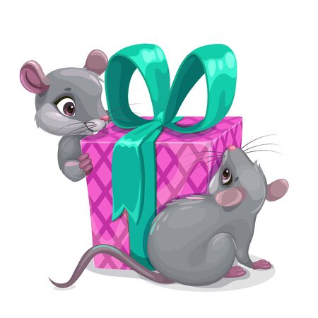 Mouse Birthday. Two cartoon mice with big gift box.