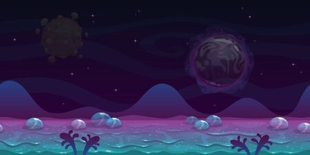 Seamless alien landscape view. Fantasy cartoon background with slimy ground, bubbles, unusual planets and hills.