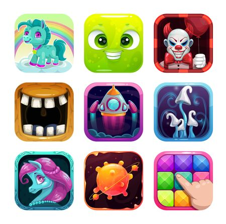 Cartoon app icons for game or web design.