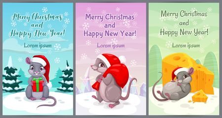 Year of the mouse. Cute Christmas greeting cards with cartoon mice.  イラスト・ベクター素材