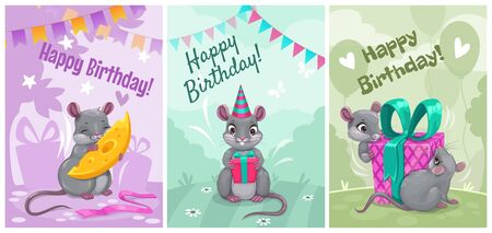 Happy birthday, cute vector greeting cards with funny cartoon mice. Holiday posters set.