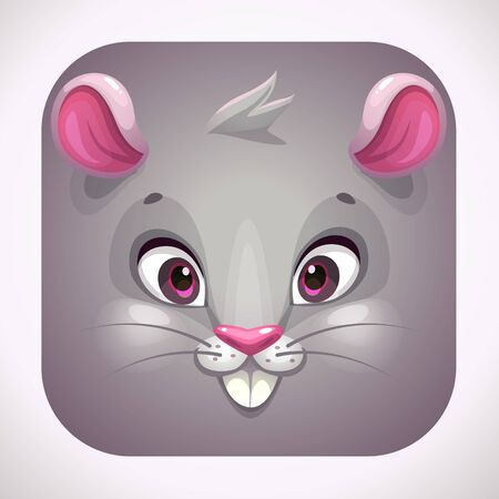 Funny gray mouse face. Cartoon app icon for game  design.
