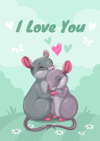 I love you. Mouse in love, vector illustration.  イラスト・ベクター素材