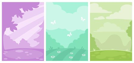 Set of three simple monochrome vertical nature backgrounds. Outdoor landscapes, silhouette drawing.