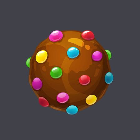 Chocolate round candy pops sprinkle. Candy bomb asset for game design. Vector sweet ball icon.