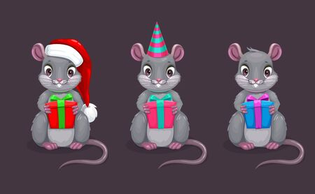 Funny cartoon sitting mouse with gift box in the hand.