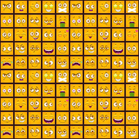 Cute comic seamless pattern with funny yellow square faces on the dark background.