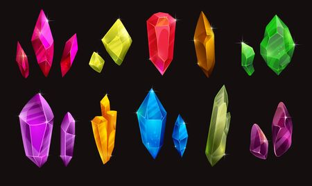 Set of different colorful crystals. Beautiful sparkling shiny gemstones.
