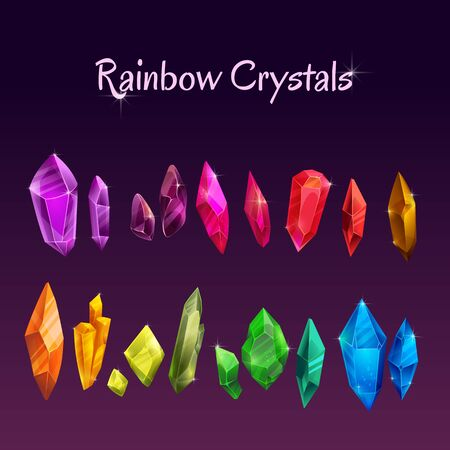 Beautiful colorful crystals set. Ruby, emerald, sapphire, brilliant gemstones.  イラスト・ベクター素材